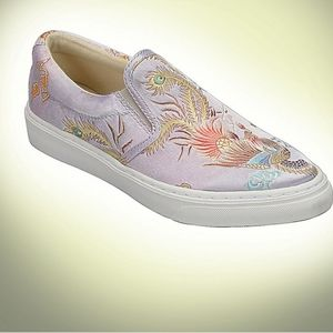 Satin Dragon Peacock Slip-On Satin Shoes